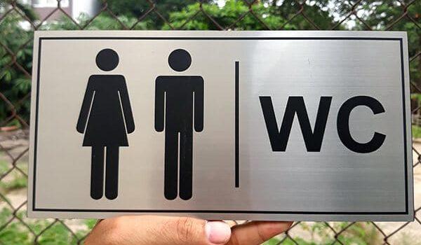 Mẫu biển chỉ dẫn nhà vệ sinh, wc, restroom đẹp.