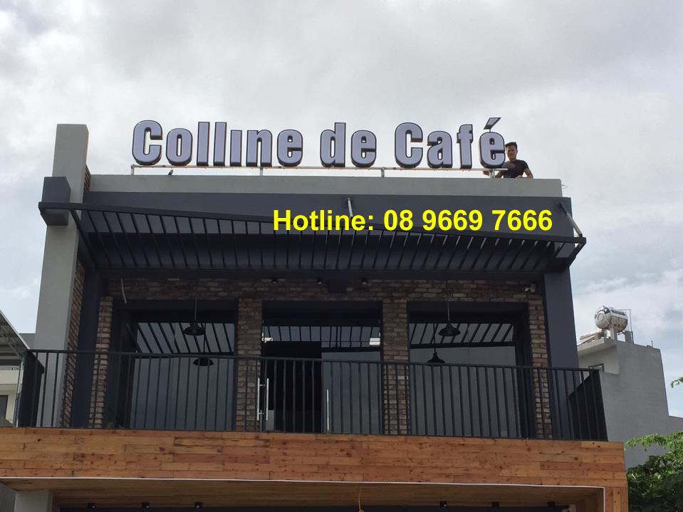 Thi công biển quảng cáo quán cafe trên mái nhà