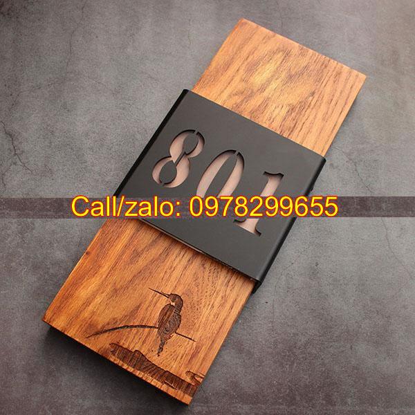 Biển số phòng khắc gỗ Mộc gỗ sồi